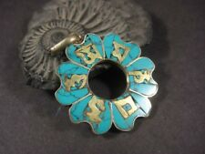P1008 LOT OF 5 ETHNIC TIBETAN OM Mantra TURQUOISE Resin Brass Pendant Nepal