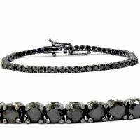 "Women's 4.00 CT Black Diamond 18K Black Gold Over Silver Tennis Bracelet 7"""