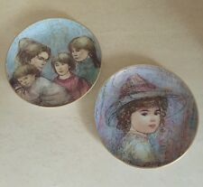 "Set of 2 Edna Hibel ""The World I Love"" Kaylin, Leah's Family Excellent!"