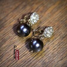 Costume Fashion Earrings Clips on Dangle Class Pearl Dark Grey Gold Vintage J3