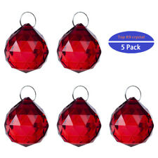 5PCS Vintage Red Crystal Chandelier Prisms Parts Droplets Glass 20mm Ball Drops