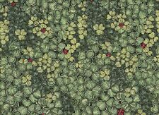 "Floral Quilt Fabric - Tiny Red Flowers Among Green Clover - P&B OOP 15"" Remnant"