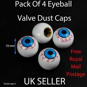 4x Eyeball Car Bike BMX Wheel Tyre Valve Plastic Dust Caps Kids stocking fillers