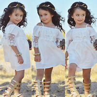 Infant Girls Princess Dress Kids Baby Party Wedding Pageant Lace Dresses Clothes
