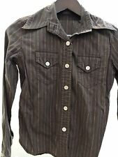 Banana Republic 100% Cotton Brown Striped Button Down Shirt - Size - Small