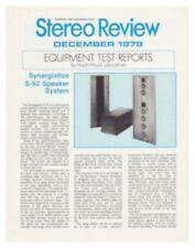 Synergistics S-92 Speaker System Brochure Original