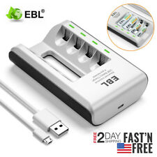 Ebl Usb 4-Slot Smart Charger For Aaa Aa Battery NiMh NiCd Rechargeable Batteries