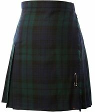 Ladies Knee Length Kilt Skirt Black Watch Tartan 35% Viscose 65% Polyester