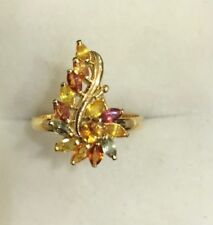14k Solid Yellow Gold Cluster Ring 2.53GM/W/Natural Multi ColorSapphire Size 7