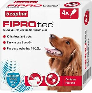 Beaphar FIPROtec Spot On MEDIUM DOG 4 Pipette Treatment - Flea Tick Fipronil