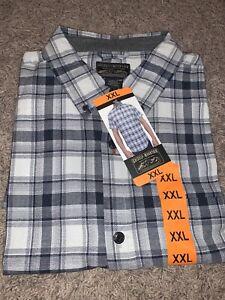 NWT Men's Gray Grizzly Mountain XXLARGE Button-Up Short Sleeve Woven Shirt 2XL