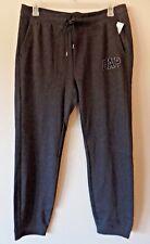 GAP Womens L Dark Gray Soft Fleece Logo Sweatpants Joggers Black Velvet Logo New