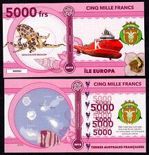 RARE ★ ILE EUROPA ● TAAF / COLONIE ● BILLET POLYMER 5000 FRANCS ★ N.SERIE 000004