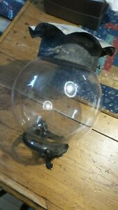 Antique GAS LIGHT GLOBE, Fittings, Cover, Clear, Cast Iron, Tin