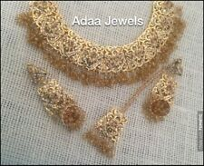 Indian jewellery set gold earrings necklace Tika Tikka Pearls Necklace Champagne
