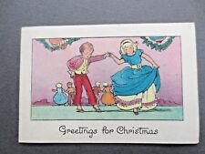Vintage CHRISTMAS Card 1940s Children Dancing Party Time TOKEN series