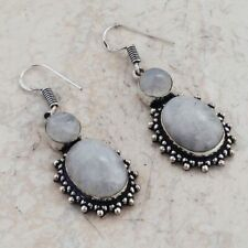 "Rainbow Moonstone Handmade Drop Dangle Earrings 1.84"" Ae 1283"