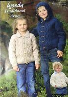 """Ŵendy Knitting Pattern childs Boys girls Aran Jacket Size 20 To 28"""""""