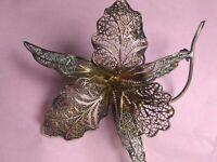 Antique Victorian 800 Sterling Silver Filigree Lilly Orchid Brooch Handmade