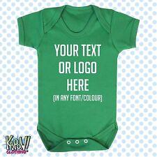 Custom Personalised BABY GROW Body Suit Sleep Vest Romper Gift-Choose text/logo1