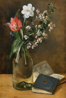 """perfect 24x36 oil painting handpainted on canvas """"flowers in vase,books""""@NO4609"""