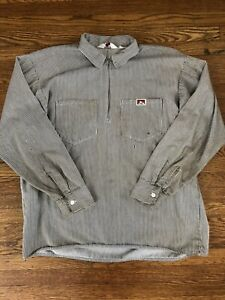 Vintage Ben Davis Long Sleeve Hickory Stripe Half Zip Work Shirt Made in USA XL
