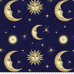 "SUN MOON STARS LUX FLEECE FABRIC BY YARD ANTI PILL 60""W NAVY BLUE GOLD NIGHT SKY"