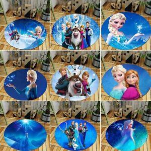 FROZEN Elsa Anna Olaf Round Carpet Kids Bedroom Living Room Floor Mat Rug