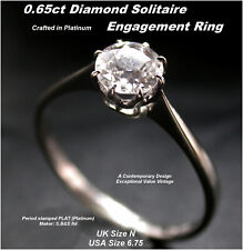 Platinum Solitaire Diamond Ring Engagement size N .65ct Old-cut v bright Diamond