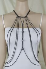 Necklace Body Jewelry Set Charms Harness Women Long Black Metal Full Top Chain