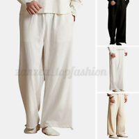 Men Casual Loose Cotton Linen Pants Yoga Drawstring Hippy Beach Holiday Trousers