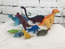 Plastic Dinosaurs Lot Bright Colors Brachiosaurus Triceratops 2� - 6�