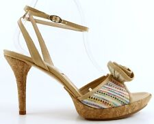 KENNETH COLE POP THE CORK Beige Multi Canvas Designer Platform Sandals 9 EUR 40