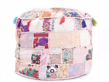 "22x18"" Embroidered Patchwork Ottoman Footstool Bean Bag Seating Vintage Pouffe"