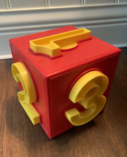 Number Cube Early Learning Puzzle Educational Home School Red Yellow Plastic
