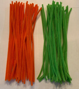 """New Chenille Stems 80 Total Green & Orange 12"""" Spring & Fall Crafts FREE SHIP"""