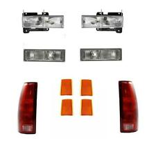 Chevy Truck Head Lights Tail Lights Park/Side Lamps Set 1990-1993 92-93 Suburban