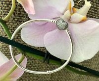 Pandora Pave Heart Bracelet, Sterling Silver, New, All Sizes Available,#590727CZ