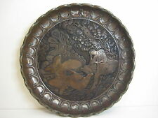 """Antique Persian Middle East Detail Hand-Chased Copper Tray, Very Rare Heavy, 19"""""""