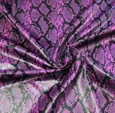 "Shiny high gloss finish SNAKE SKIN print Fuchsia black faux Vinyl fabric BTY 60"""