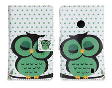 Sleep Owl Design Leather Wallet Money Card Case Cover Stand for Nokia Lumia 520