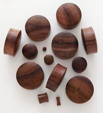 1 Pair 0G 8mm Dark Brown Sono Organic Natural Wood Saddle Ear Plugs Gauges 635