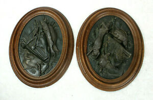 Antique PAIR french hunting trophy Animals spelter wood framed