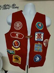 Vintage 1970's Red Boy-scout Patch Vest Kaw City Kansas Rare EUC