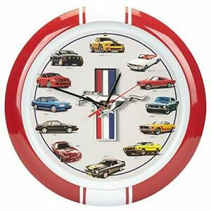 """History of Ford Mustang Wall Sound Clock, 13"""", Red"""