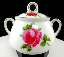 "THOMAS BAVARIA #39 RED ROSE GREEN LINE 4 1/2"" LIDDED SUGAR BOWL"
