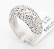 Vintage 14k White Gold Si1/H 2.19CT, Pave Diamonds W/ Dome Design Band Ring,6.5