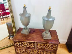 Pair of Vintage Grecian Urn Style Ceramic Table Lamps