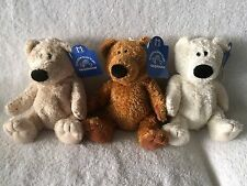 "Lot of 3 Cute & Very Soft Bears! 3 Colors 8"" By Applause w/Tags Attached! NEW!"