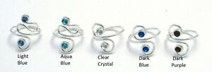 Solid 925 Sterling Silver CZ Crystal Toe Ring Adjustable Midi Finger FREE BOX